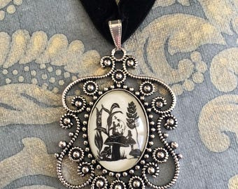 ALICE'S ADVENTURES in WONDERLAND Choker Necklace - Advice from a Caterpillar - pendant on ribbon