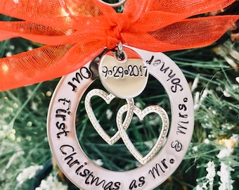 SALE!!  Our first christmas as Mr. & Mrs. Personalized Christmas ornament holidays custom ornament wedding anniversary