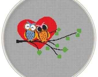Love owl Cross stitch pattern, Cross-Stitch PDF, Instant Download, Free shipping, valentine's day pattern, MCS103