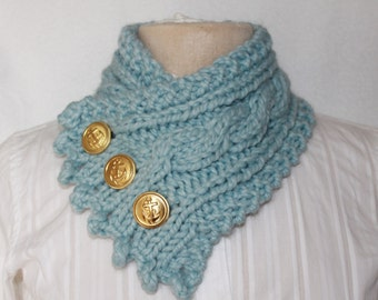 Handmade Cable Knit Cowl, Fishermans Wife Cowl, Neck Warmer, Knitted Cowl, Cable Knit Scarf,  Color Glacier