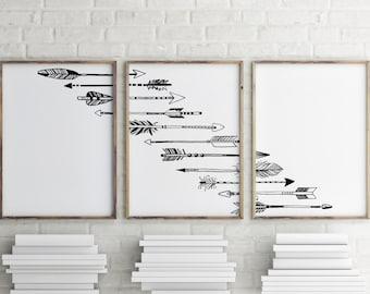 Arrow wall art, Printable home decor, Set of 3 prints, Arrow printable, Tribal decor, Teen room decor, Bohemian decor BD-627