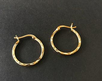 """Sterling silver gold plated hoop earrings 925 diamond cut facets 3/4"""" diameter vermeil vintage"""