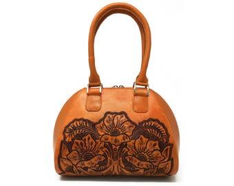 tan leather crossbody small crossbody leather boho handbag ethnic leather bag cute small leather bag petite womens zipper purse everyday bag