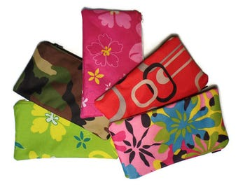 Zippered Canvas Pouch/ Pencil Pouch/ Makeup Pouch/ Makeup Bag