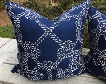 Nautical royal blue with white rope pattern throw pillow cover 22inch square