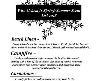 Wax Alchemy's Spring/Summer Scent List For 2018/ Scented Candles - Scented Wax Melts - Spring Scented Candles - Soy Candles - Summer Candles