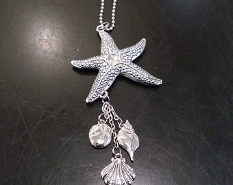Starfish Car Charm w/ sea shells and sand dollar