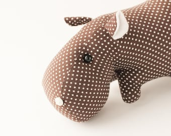 Brown soft toy hippo. Stuffed animal hippopotamus. Cotton rag toy for baby boy and baby girl. Smile little hippo. Brown polka dot toy.