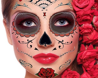Sugar Skull Temporary Face Tattoo - Red Roses - Day of the Dead - Dia de los Muertos - Calavera - Halloween Costume