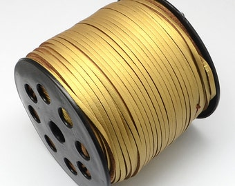 14ft Gold Faux Suede Cord Leather Like 3mm(lo1)