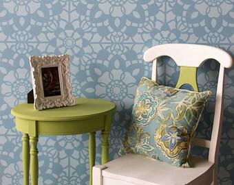 Vintage Lace Wallpaper Stencils - Large Designer Wall Stencils for Girls Bedroom or Nursery Decor