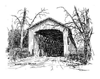 Covered Bridges Note Cards – Indiana Covered Bridges Artwork – Wheeling Bridge Gift of Art