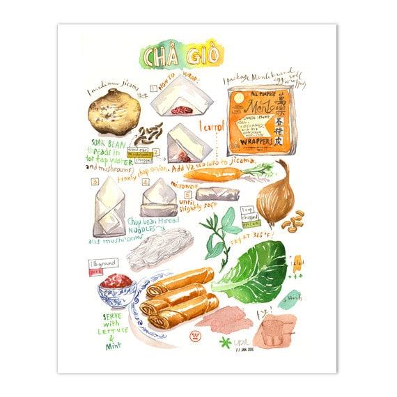 Vietnamese Cha Gio Illustrated Recipe Print Spring Rolls