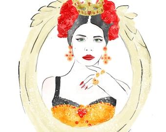 Lana Del Rey - Portrait - Illustration - Art Print - Drawing - Watercolor - Floral - Roses