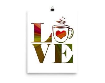 Coffee Love Color Burst Poster Wall Decor