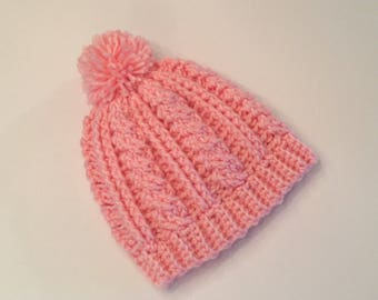 Pink Baby Hat With Pom (0-6 Months)