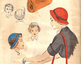 "Vogue 6831 BRIMMED CLOCHE & BAG 22"" Head Size ©1951"