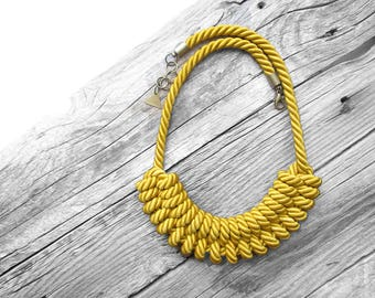 Mustard Yellow Rope necklace Mustard Yellow Nautical rope necklace