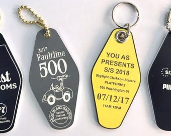 Quantity of 6 - 2Sided - Motel Laser Engraved Acrylic Key Tags
