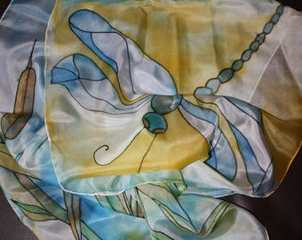 Hand painted silk scarf, dragonfly silk scarf, unique painted scarf, women's day gift, gift for her, dragonfly scarf, painted scarf for her