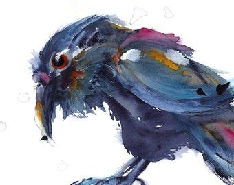 8 x 10 Raven Print, Colorful Raven Art, Wildlife Art