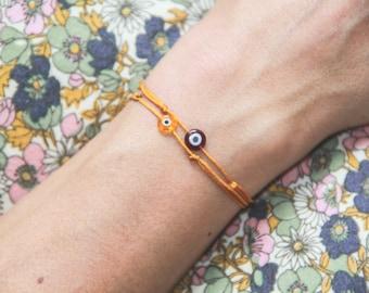evil eye string bracelet / mustard string bracelet / adjustable evil eye bracelet/ lucky charms bracelet / friendship bracelet