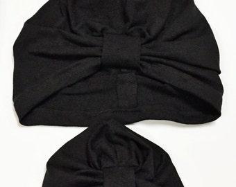 Mommy & Me Set - Black Turban hat (plain tab)