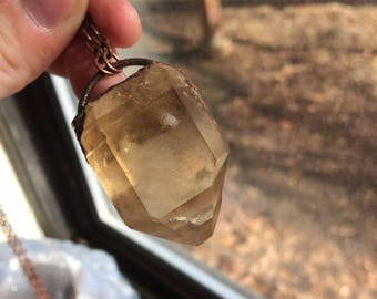 Electroformed natural citrine chain necklace