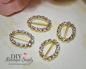 Set of 5 Brilliant Oval Gold Rhinestone Buckles Sliders Crystal Ribbon Sliders Bow Centers Scrapbooking 18x13mm 693032