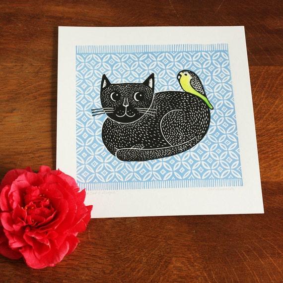 Black Cat and Budgie – Blue Rug , Original Linocut Print, Signed Open Edition, Free Postage in UK, Block print, Printmaking,