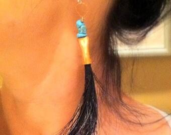 Western jewelry, western earrings, Tribal earrings,Horse hair jewelry,horse hair