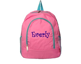 Personalized Pink Backpack with Aqua Trim - Solid School Size Backpack Book  Bag - Great as d3361c70dcb1c