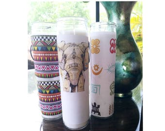 Afrocentric elephant African adinkra home decorative candles