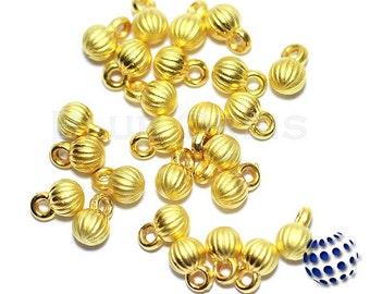 10 pcs 22K Gold Plated Satin Finish Matte Bracelet Necklace Mini Drop Ball Charms - Turkish Jewelry Findings