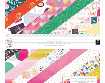SALE Paige Evans Oh My Heart W/Foil & Die-Cut Pink Paislee Single-Sided Paper Pad 12x12 (310518)