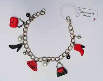 Boho bracelet, charm bracelet, fashion accessories, shoes, handbag, pearls, chic, fashionable, gift for her, pendant bracelet
