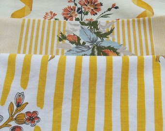 Antique Vintage French fabric bundle Ticking textile samples Summer Cornfield