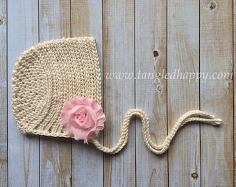 Instant Download - CROCHET BONNET PATTERN Ribbed Baby Bonnet