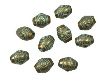 20 tube beads for leather or cord, antique bronze, verdigris patina
