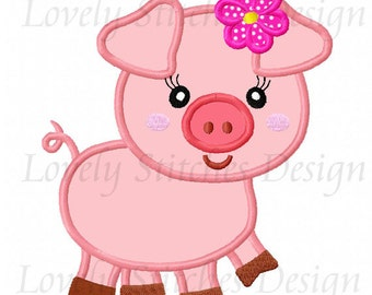 Girl Pig Applique Machine Embroidery Design NO:0567