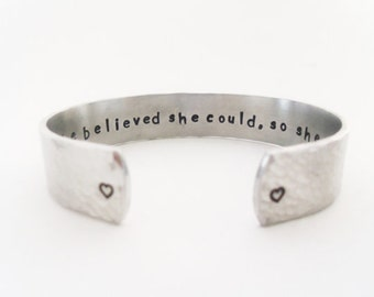 Inspirational Secret Message Cuff Bracelet - Graduation Gift - She believed she could,so she did, Gift For Her, By Timeless Maiden