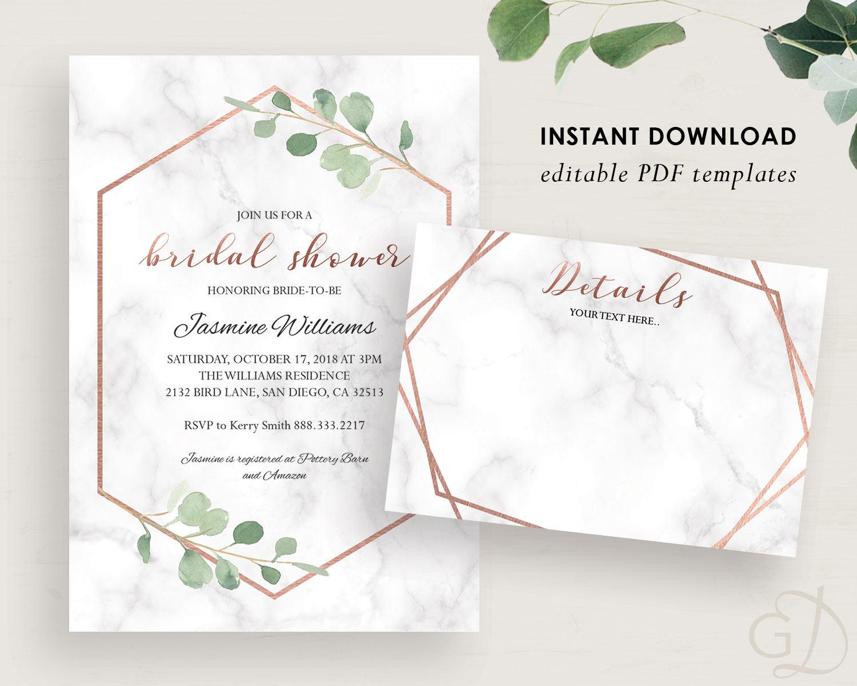 Greenery Bridal Shower Invitation Eucalyptus invite Marble