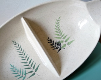 RETRO DIVIDED DISH Franciscan Divided Condiment Serving Dish Fern Leaf Pattern