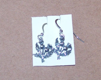 Sterling Silver THISTLE Earrings - Celtic, Irish, Scottish, Plant - 3D