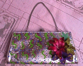 Silver clutch hand painted