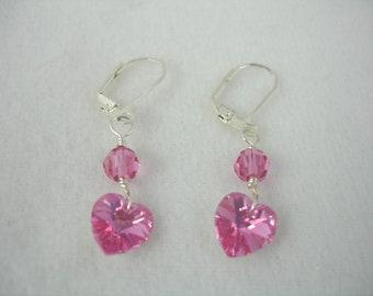 Pink crystal heart earrings, lever back earrings with Swarovski pink crystals, pink heart earrings