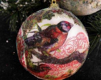 Bird ornament -Decoupage ornament - FREE SHIPPING - Handmade treeornament -Christmas Ball - set of  (2)  # 22