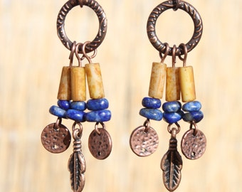 Boho Earrings Bohemian Earrings Boho Jewelry Chic Copper Earrings Chandelier Earrings Lapis Earrings Ethnic Hippie Gypsy Gift for her
