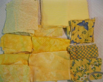 Stash-Buster Yellow Cotton Quilting Fabric Scraps