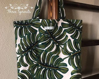 Market Tote, Reusable Tote Bag, Canvas Tote Bag, Market Bag, Tote Bag, Rifle Paper Co Fabric, Rifle Paper Co Tote, Rifle Paper Co -Monstera